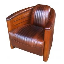 Fauteuil Club Pirogue Cuir Vintage Tundra