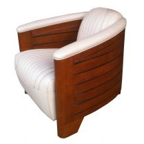Fauteuil Club Pirogue Cuir Ivoire