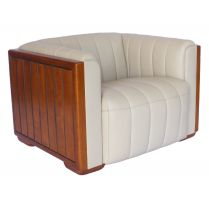 Fauteuil Club Miami Cuir Ivoire